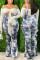 Blue Fashion Casual Tie Dye Print Plus Size Sling Wide Leg Pants
