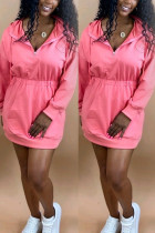 Pink Fashion Casual Adult Twilled Satin Solid Draw String Hooded Collar Long Sleeve Knee Length Waist Skirt Dresses