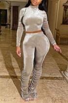 Khaki Fashion Casual Long Sleeve Turtleneck Regular Sleeve Short Solid Two Pieces
