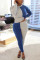 Blue Fashion Casual Long Sleeve O Neck Regular Sleeve Regular Patchwork Two Pieces