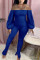 Blue Sexy Casual Bateau Neck Long Sleeve Off The Shoulder Skinny Solid Jumpsuits