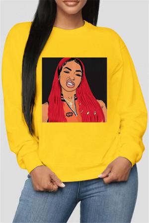 Yellow Fashion Casual O Neck Long Sleeve Regular Sleeve Regular Print Tops
