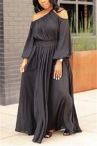 Black Fashion Solid Oblique Collar Floor Length Pleated Dresses