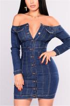 Blue Fashion Sexy Off The Shoulder Long Sleeve Bateau Neck Denim Dress Mini Solid Dresses
