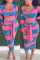 Blue Fashion Casual Long Sleeve O Neck Regular Sleeve Short Striped Print Two Pieces