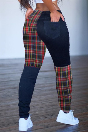 multicolor Casual Polyester Patchwork Split Joint Bottoms