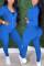 Royal Blue Fashion Casual Long Sleeve Zipper Collar Regular Sleeve Regular Solid Two Pieces