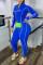 Blue Fashion Solid Split Joint Tie-dye O Neck Skinny Jumpsuits