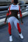 Red Casual Sportswear O Neck Long Sleeve Regular Sleeve Skinny Patchwork Jumpsuits