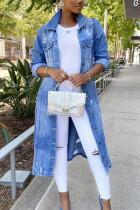 Blue Fashion Casual Turndown Collar Long Sleeve Regular Sleeve Solid Denim Coats