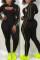 Black Fashion Sexy Hooded Collar Long Sleeve Regular Sleeve Patchwork Plus Size Set