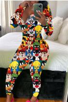 cartoon Fashion Adult Living Polyester Print V Neck Skinny Jumpsuits