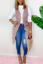 Pink Fashion British Style Adult Solid Cardigan Turndown Collar Tops