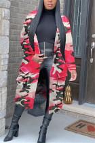 Pink Fashion Sexy Adult Camouflage Print Pocket Cardigan Turndown Collar Outerwear