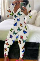 Multi-color Fashion Adult Living Polyester Print V Neck Skinny Jumpsuits