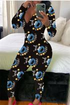 Blue Fashion Adult Living Polyester Print V Neck Skinny Jumpsuits