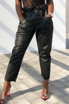 Black Fashion Casual Regular Solid Trousers