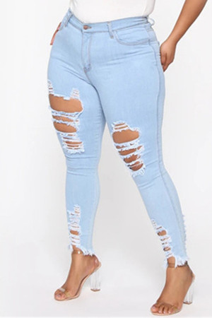 Light Blue Fashion Casual Solid Plus Size High Waist Broken Hole Jeans