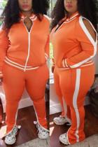 Orange Fashion Casual Zipper Collar Long Sleeve Regular Sleeve Striped Patchwork Plus Size Set
