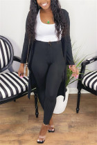 Black Fashion Casual Long Sleeve Regular Sleeve X Long Solid Two Pieces