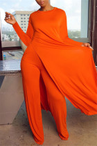 Orange Red Fashion Casual Long Sleeve O Neck Regular Sleeve X Long Solid Two Pieces