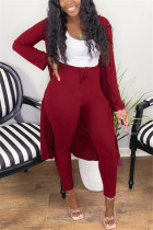Wine Red Fashion Casual Long Sleeve Regular Sleeve X Long Solid Two Pieces