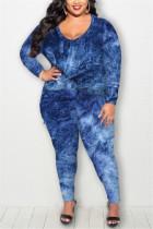 Blue Fashion Casual Long Sleeve Regular Sleeve Print Tie Dye Plus Size Set