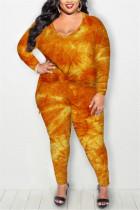 Orange Fashion Casual Long Sleeve Regular Sleeve Print Tie Dye Plus Size Set