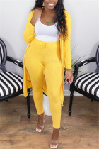 Yellow Fashion Casual Long Sleeve Regular Sleeve X Long Solid Two Pieces
