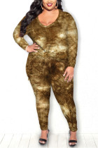 Brown Fashion Casual Long Sleeve Regular Sleeve Print Tie Dye Plus Size Set