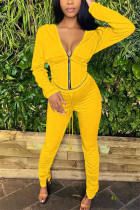 Yellow Fashion Casual Long Sleeve V Neck Regular Sleeve Short Solid Two Pieces