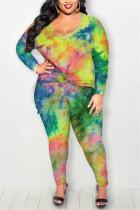 Green Fashion Casual Long Sleeve Regular Sleeve Print Tie Dye Plus Size Set