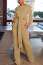 Khaki Fashion Casual Long Sleeve O Neck Regular Sleeve X Long Solid Two Pieces