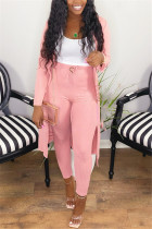 Pink Fashion Casual Long Sleeve Regular Sleeve X Long Solid Two Pieces