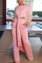 Pink Fashion Casual Long Sleeve O Neck Regular Sleeve X Long Solid Two Pieces