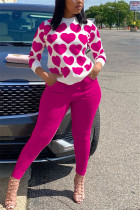 rose red Casual Daily Spandex Print Pocket Pullovers Pants Basic O Neck Long Sleeve Regular Sleeve Regular Two Pieces