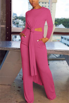 Rose Red Fashion Casual Long Sleeve O Neck Regular Sleeve X Long Solid Two Pieces