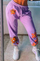 Purple Fashion Sportswear Regular Print Trousers