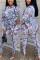 White Fashion Casual O Neck Long Sleeve Regular Sleeve Print Plus Size Jumpsuit