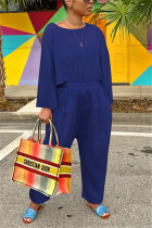 Royal Blue Fashion Casual O Neck Long Sleeve Regular Sleeve Loose Solid Jumpsuits