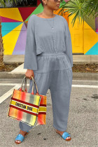 Gray Fashion Casual O Neck Long Sleeve Regular Sleeve Loose Solid Jumpsuits