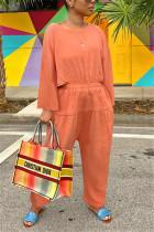 Orange Fashion Casual O Neck Long Sleeve Regular Sleeve Loose Solid Jumpsuits