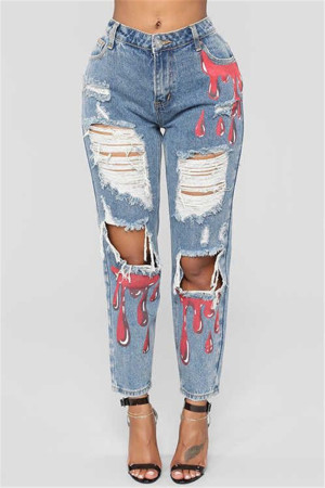 Light Blue Fashion Casual Mid Waist Broken Hole Jeans