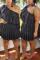 Black Fashion Sexy Oblique Collar Short Sleeve Single Sleeve Solid Plus Size Dress
