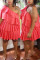 Red Fashion Sexy Oblique Collar Short Sleeve Single Sleeve Solid Plus Size Dress