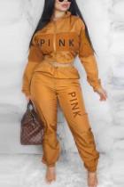 Orange Casual Sportswear Long Sleeve Zipper Collar Regular Sleeve Short Letter Print Two Pieces
