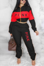 Black Red Casual Sportswear Long Sleeve Zipper Collar Regular Sleeve Short Letter Print Two Pieces