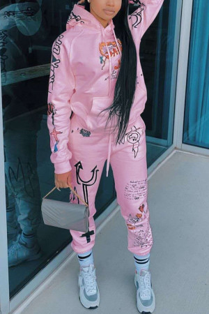 Pink Fashion Casual Long Sleeve Hooded Collar Regular Sleeve Regular Print Two Pieces