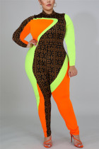 Colorful Fashion Casual Turtleneck Long Sleeve Regular Sleeve Patchwork Print Plus Size Jumpsuit