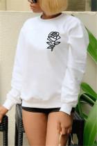 White Sportswear Print O Neck Tops